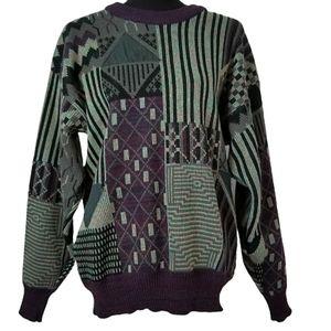 Vintage large crew neck mens retro knit sweater